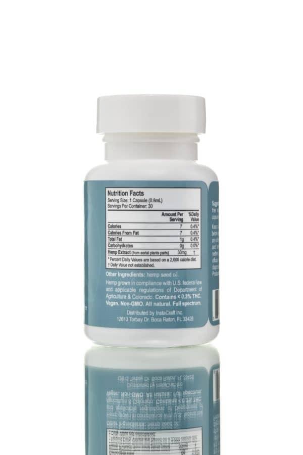 CBD oil capsules 30mg 30 units full spectrum, back, jpeg