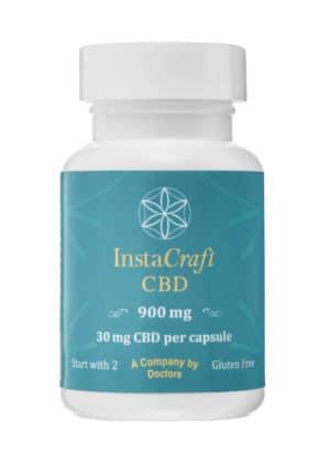 Bottle of Premium CBD Capsules by InstaCraft CBD, containing 900mg CBD and 30 capsules, with 30mg CBD per capsule. Full Spectrum benefits.